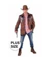 Grote maten cowboy jas bruin voor heren