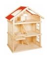 Massief houten poppenhuis 3 etages voor kinderen