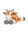 Pluche bruin/witte geiten knuffel 20 cm