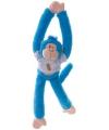 Blauwe slingeraap knuffel 40 cm