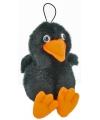 Hangende zwarte pluche Kraai 15 cm