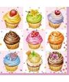 Lunchartikelen servetten cupcakes 3-laags 20 stuks